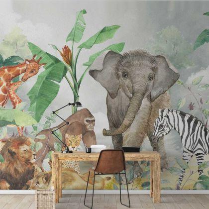 Animal Safari Wallpaper Tropical Jungle Removable Wallpaper
