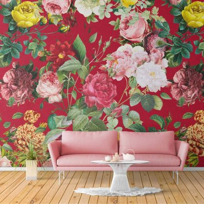Multicolour Floral Design Wallpaper Multicolour Red Floral Design Removable Wallpaper