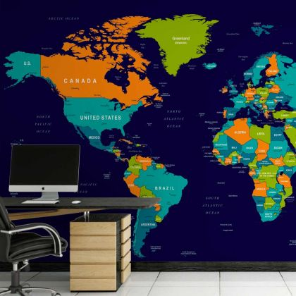 Self Adhesive Kids World Map Wallpaper Peel and Stick Map Wall Mural