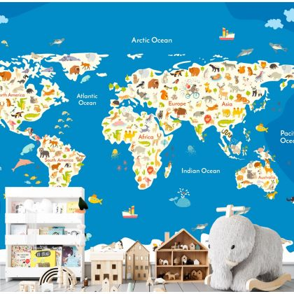 Self Adhesive Kids Blue World Map Wallpaper