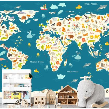 Self Adhesive Kids Room Blue World Map Wallpaper