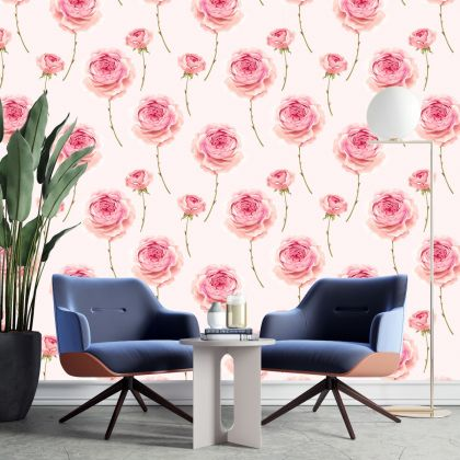 Removable Peel 'n Stick Wallpaper, Wallpaper for Kid, Floral Wall Decor Small Rose Flower Wallpaper for Girl Nursery Wall stickers