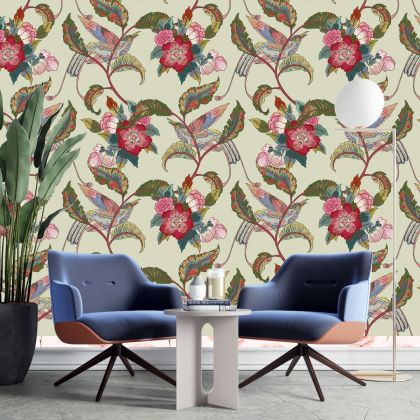 Floral Wallpaper Self Adhesive Peel and Stick Vintage Flower Wall Mural