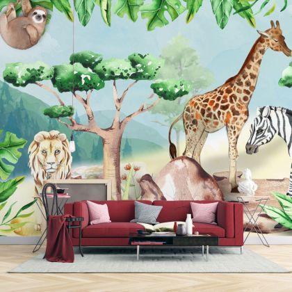 Kids Wallpaper for Childrens Tropical Green Forest Wall Mural Safari Animals Wall Print Cute Elephant Zebra Giraffe Wall Art Kidsroom decor