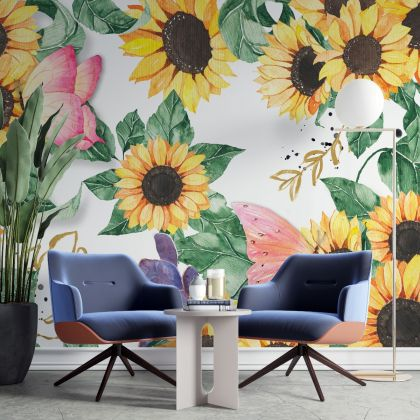 Sunflower Fabric Wall Decal, Floral Wall Art, Watercolour Flowers Girl Room Decor, Flower Wall Stickers