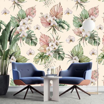 Removable Peel 'n Stick Wallpaper, Self-Adhesive Wall Mural, Watercolor Floral Pattern, Nursery, Room Decor ,Spring Flowers and Leaves wall decor