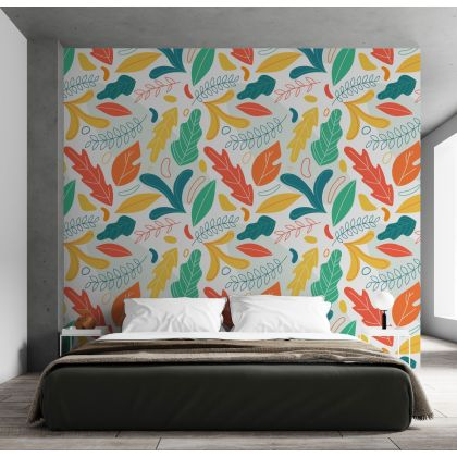 Modern Abstract Leaves and Shapes Removable Wallpaper