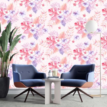 Removable Wallpaper | Peel and Stick Vintage Flowers Wallpaper | Self Adhesive leaf and flowers Wallpaper stickers