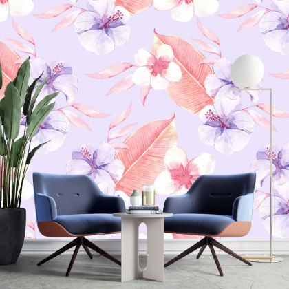 Removable Wallpaper | Peel and Stick Vintage Flowers Wallpaper | Self Adhesive leaf and Hibiscus flowers Wallpaper stickers