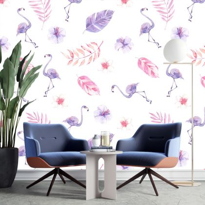 Flamingo Wall Sticker, Flamingo With Leaves Wall Decal,Girls Room Wall Decal, Home Wall Decor, Bed Room Wall Decal