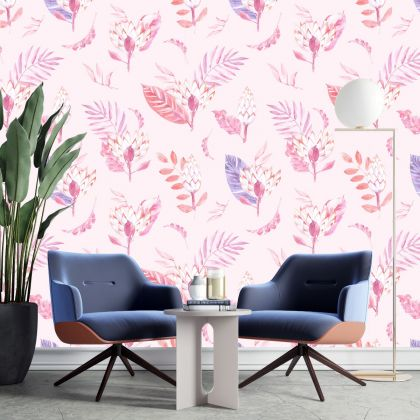 Tropical Leaves Pattern Wallpaper - Removable Wallpaper,Tropical Plants Flower Wallpaper, Exotic Wall Sticker