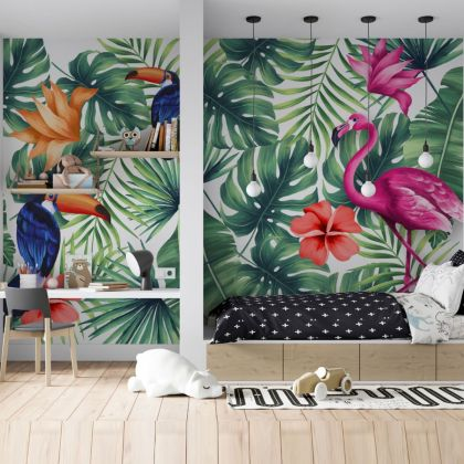 Tropical Leaves Flamingo Removable Peel and Sticker Wallpaper