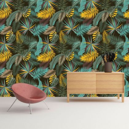 Autumn vibes seamless leaves pattern wallpaper, Wall decal, Colorful leaves wall sticker, Autumn colors wall mural
