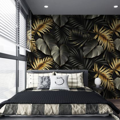 Black and gold Tropical Leaves decor - Removable Wallpaper,Tropical Plants Flower Wallpaper, Exotic Wall decor