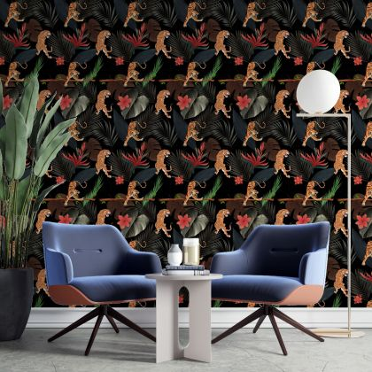 Dark Tiger Jungle Tropical Forest Leaves Wall Sticker,Leaves Wall Decal,Girls Room Wall Decal, Home Wall Decor, Bed Room Wall Decal