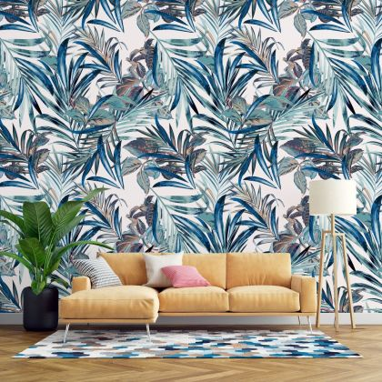 Modern Tropical Palm leaves Wallpaper, Urban Jungle, Botanical Peel and Stick or Traditional material wall stickers