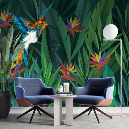 Tropical Garden leaves with Bird Wallpaper, Urban Jungle, Botanical Peel and Stick or Traditional material wall stickers