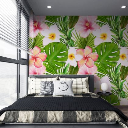 Tropical floralLeaves Pattern Wallpaper - Removable Wallpaper,Tropical Plants Flower Wallpaper, Exotic Wall Sticker
