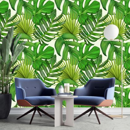 Jungle Tropical Forest Leaves Wall Sticker,Leaves Wall Decal,Room Wall Decal, Home Wall Decor, Room Wall Decal