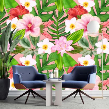 Green Plant Tropical style Modern art wall sticker with flowers bedroom living room wall decals mural poster home decor