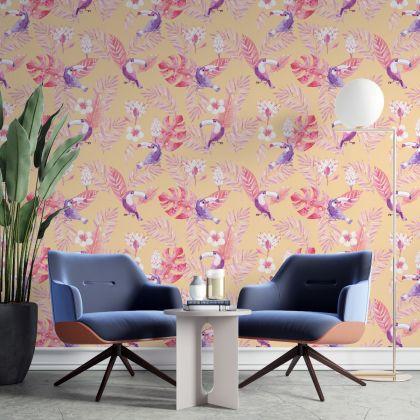 Toucan Wall Decal, Watercolor Toucan Wall Sticker, Toucan Bird Parrot Wall Decor, Tropical Leaves Wall Decal Sticker, Living Room wall stickers