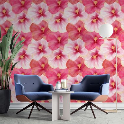 Large hibiscus Wall Sticker, flowers Wall Decal, Girls Room Wall Decal, Home Wall Decor, Room Wall Decal stickers