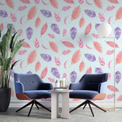 Modern Leaves Leaf Petals Wallpaper Mural, exquisite leave sketch wallpaper, Removable Wallpaper stickers
