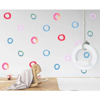Set of 20 Multicolour Circle Wall Stickers, Watercolour Effect Pattern kids room wall stickers