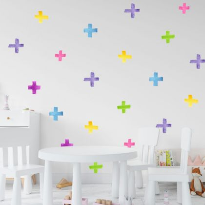 Set of 20 Multicolour Swiss Cross Wall Stickers, Watercolour Effect Pattern kids room wall stickers