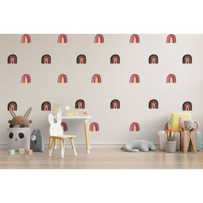 Set of 20 Multicolour Rainbow Wall Decals, MultiColour Pattern for kids room wall stickers