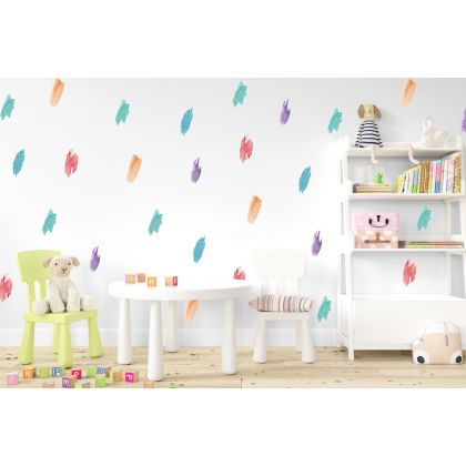 Set of 25 MultiColour Brush Stroke, Multicolour Pattern for kids room wall stickers
