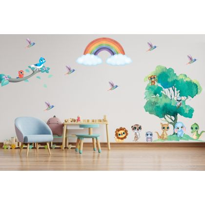 Fairy Animals Wall Sticker,Birds Vinyl Wall Stickers, Rainbow Decals for Kids Room