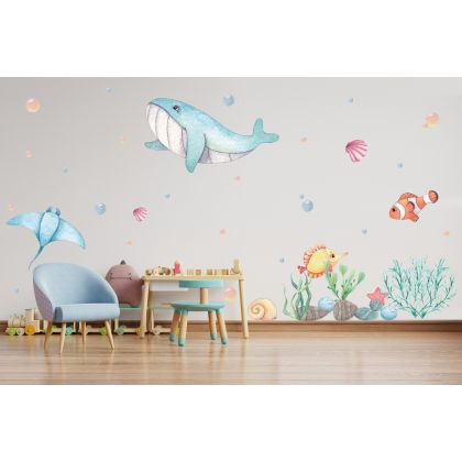 Underwater Whale Wall Sticker, Nemo Fish Vinyl Wall Stickers, Bubbles Decals for Kids Room