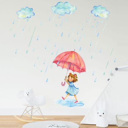 Pretty Girl with Umbrella Wall Sticker, Raindrop Wall Decal For Clouds Raining Decorations