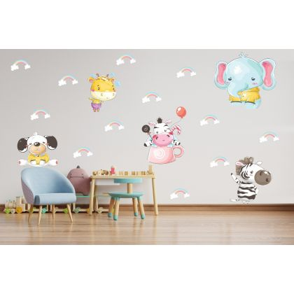 Fairy Animals Wall Sticker,Animals Vinyl Wall Stickers, Rainbow Decals for Kids Room