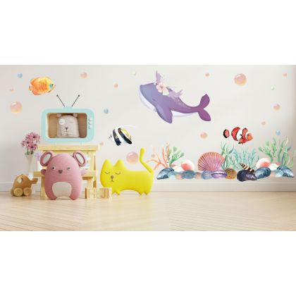 Underwater Whale Wall Sticker, Nemo Fish Vinyl Wall Stickers, Bubbles Decal for Kids Room