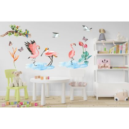 Tropical Leaves Flamingo Wall Sticker,Macaw Vinyl Wall Stickers, Tropical Birds Decals for Kids Room