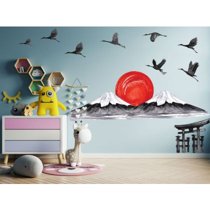 Red Sun Wall Sticker,Black Birds Vinyl Wall Stickers, Mountain Stickers for Kids Room