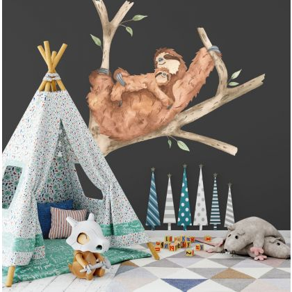Sloth Animals Wall Sticker,Sloth Wall Vinyl Wall Stickers, Bunny Decals for Kids Room