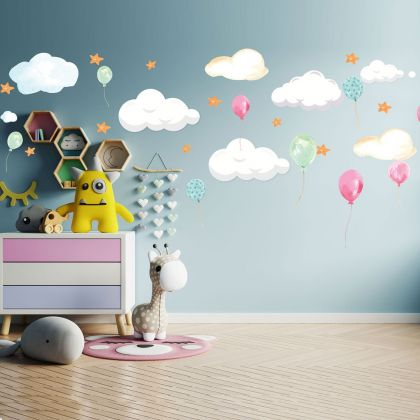 Balloon Wall Sticker, Star Wall Decal For Clouds Decorations
