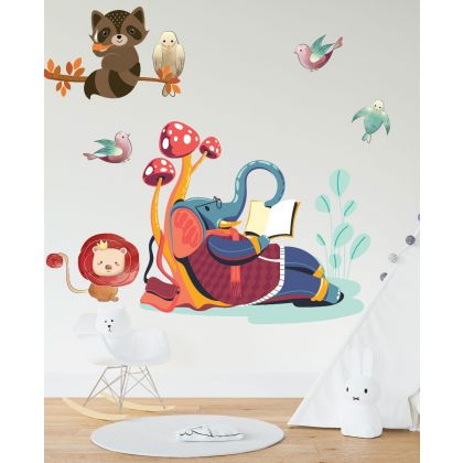 Elephant Reading Wall Sticker,Lion Vinyl Wall Stickers, Birds Stickers for Kids Room