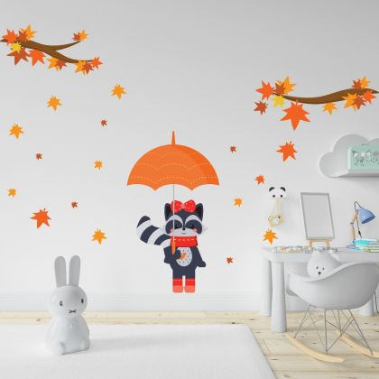 Autumn Branches and Leaves Wall Sticker- Fall Leaves Kitty Wall Decal For Autumn Decorations