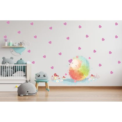 Animals Wall Sticker, Hedgehog Vinyl Wall Stickers, Heart Stickers for Kids Room