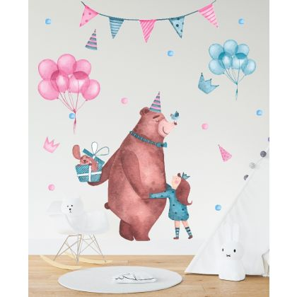 Fairy Animals Wall Sticker,Bear Vinyl Wall Stickers, Balloons Decals for Kids Room