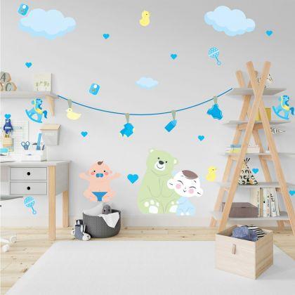 Nursery Wall Sticker, Baby Vinyl Wall Stickers, Teddy Bear Stickers for Kids Room