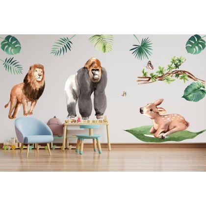 Animals Wall Stickers,Jungle Safari Animals Wall Vinyl Wall Stickers for Kids Room