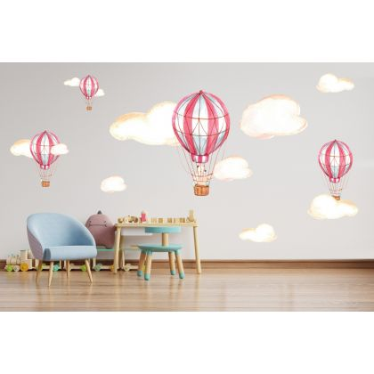 Fairy Animals Wall Sticker,Bear Vinyl Wall Stickers, Parachute Decals for Kids Room