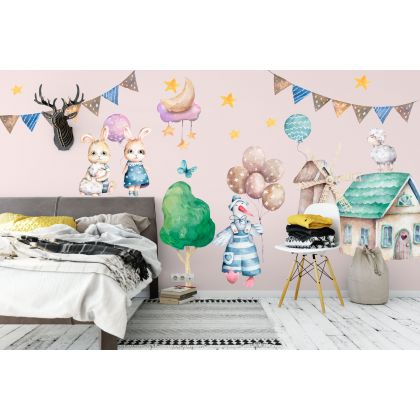 Fairy Animals Wall Sticker,Easter Bunny Vinyl Wall Stickers, Bunny Decals for Kids Room