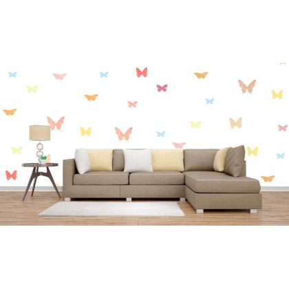 Set of 20 Multicolour Butterfly Wall Stickers, Watercolour Effect Pattern for kids room wall stickers