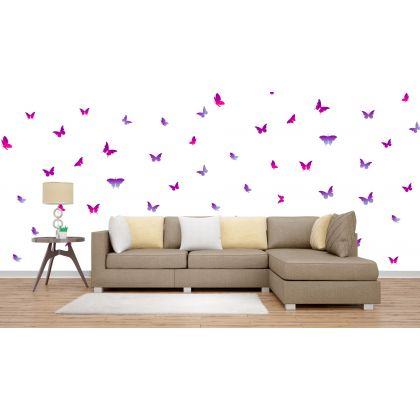 Set of 20 Purple Pink Butterfly Wall Stickers, Pattern for kids room wall stickers